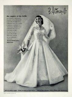 1956 Ad Vintage Taffeta Wedding Dress Bride Alencon Lace Bridal Fashion B Altman