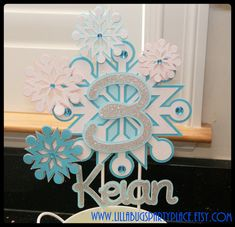 """Snowflake, """"Frozen"""", Winter Wonderland, Personalized Cake Topper on Etsy, $8.21 CAD"""