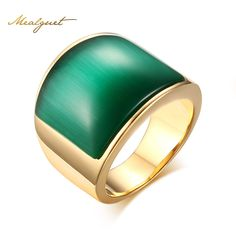 Meaeguet Fashion Women Big Stone Wedding Rings Jewelry Stainless Steel Green&Brown Stone Rings for Women Party Jewelry