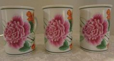 Lynn Chase Flores Coffee Mugs Cups 1996  Set of 3 Pink Peonies #LynnChase