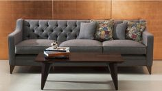 The Formalis Sofa. Accented with deep button-tufting, simple legs and a slick silhouette, the piece calls for graphic cushions for a personal touch or herringbone accents for a more traditional appeal. Sofa Design, Interior Design, Stuart Scott, Luxury Sofa, Upholstered Sofa, Throw Cushions, Sofas, Armchairs, Love Seat