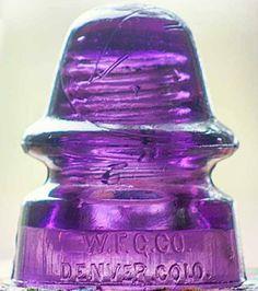 W.F.G.Co. DENVER, COLO antique purple glass insulator