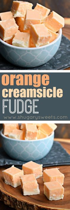 Orange Creamsicle Fudge is like your favorite ice cream treat from the truck - but it doesn't melt! Just the right amount of sweet for an afternoon jolt of happiness. Thx Gotta try this Delicious Fudge Recipe, Delicious Desserts, Dessert Recipes, Yummy Food, Oh Fudge, Easy Fudge, Shugary Sweets, Orange Creamsicle, Ice Cream Treats
