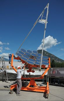 IBM Research and Switzerland-based Airlight Energy today announced a new parabolic dish that increases the sun's radiation by 2,000 times while also producing fresh water and air conditioning.  The new Concentrator PhotoVoltaics (CPV) system uses a dense array of water-cooled solar chips that can convert 80% of the sun's radiation into useful energy.