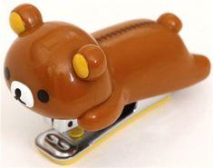 kawaii brown Rilakkuma bear stapler by San-X Cute! Cute Office Supplies, Cool School Supplies, College School Supplies, School Accessories, Kawaii Accessories, Cute Stationary, Kawaii Room, Rilakkuma, Kawaii Stationery