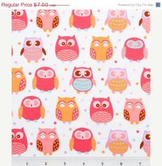 Tax time sale  Pink and Purple Pastel Owls  by Sweetbobbinsfabric,