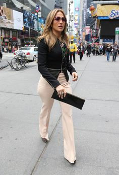 Jennifer Lopez's New York City ...Michael Kors Pre-Fall 2013 leather hem jacket Dolce & Gabbana Floral Blouse, Cream Trousers, and Valentino Lace Platform Pumps