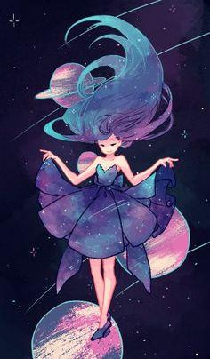 Y en medio de las galaxias, se encontraba una chica, saltando de planeta en planeta.