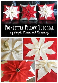Make a fun holiday pillow with this easy Poinsettia Pillow Tutorial.