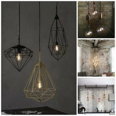 Collage lámparas industriales Decoration, Ceiling Lights, Lighting, Design, Home Decor, Industrial Style, Industrial Lamps, Home, Lights