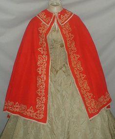 Vivid Red 1860's Cashmere Wool Cape Museum De-accessioned