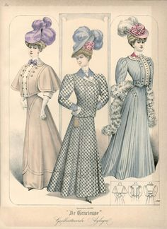 "Published in Dutch magazine ""De Gracieuse"" on October 22 1906 vintage fashion plate"