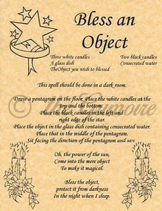Bless an Object, Book of Shadows Spells Page, Witchcraft, Wicca, like Charmed
