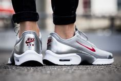Nike Air Max Jewell Silver Bullet The celebration of the 20th anniversary of the Nike Air Max 97 will also include the Nike Air Max Jewell Silver bullet for this April. Dressed in a Metallic Silver, Varsity Red, Black and White color scheme with the style code: 910313-001