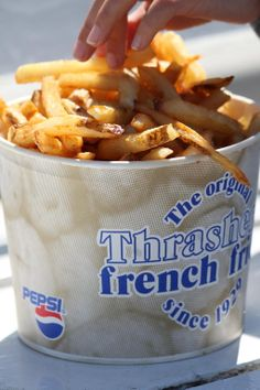 If you're still hungry, order a bucket of Thrasher's French Fries! A Delaware beach tradition..don't forget to dash some vinegar on the fries!