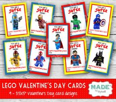 Printed SUPER LEGO Valentine's Day Cards, Kids Valentines Day Cards - DIY Valentines - Kids Valentines, Printed