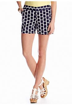 Black and white never goes out of style! Find these printed shorts at Belk.