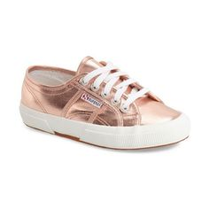 Women's Superga 'Cotmetu' Metallic Sneaker (1 070 ZAR) ❤ liked on Polyvore featuring shoes, sneakers, rose gold, superga shoes, rose gold sneakers, eyelets shoes, metallic shoes and superga sneakers