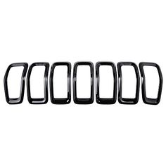 For 2014-2016 Jeep Cherokee 4-Door Grille Grill Cover Insert Kit 7pcs Glossy Black. For product info go to:  https://www.caraccessoriesonlinemarket.com/for-2014-2016-jeep-cherokee-4-door-grille-grill-cover-insert-kit-7pcs-glossy-black/
