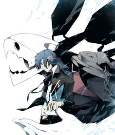 Persona 3 - Makoto Yuuki and Thanatos Persona 3 Thanatos, Shin Megami Tensei Persona, Persona 4, Video Game Art, Manga Games, Anime Couples, Anime Guys, Anime Characters, Anime Art