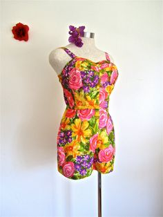 This item has SOLD!  Sz.M, 50s Playsuit, Swimsuit, The Kahala, Honolulu Hawaii, Bright Floral Pink Purple Yellow & Green