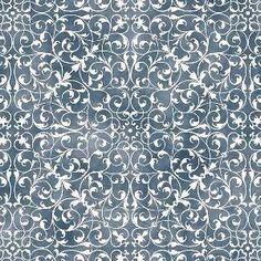 """""""Ramalhetes"""" dupla faixa com raminhos geométricos - azul e branco (estampa digital)"""