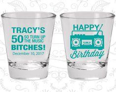 50th Birthday Shot Glass, Vintage Birthday, Happy Birthday Shot Glass, 80s Birthday, Birthday Shot Glass, Birthday Glass (20118)