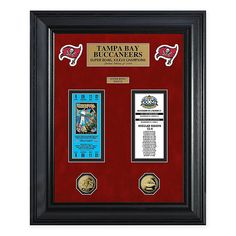 NFL Tampa Bay Buccaneers Super Bowl Ticket Collection Multi - Celebrate your favorite NFL team's Super Bowl Victories with this Super Bowl Ticket & Game Coin Collection from The Highland Mint. Super Bowl Tickets, Tampa Bay Buccaneers, Tampa Florida, Coin Collecting, Frames On Wall, Nfl, Framed Prints, Bath, Collection