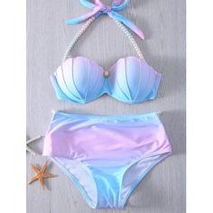 New Women mermaid bikini Top Design Gradient Color Push Up Swimwear Padded Brazilian Cut out Bikini Rainbow Bandage Bathing suit Swimsuits For Teens, Cute Swimsuits, Cute Bikinis, Vintage Swimsuits, Halter Swimsuits, Bikini Vintage, Mermaid Bikini, Unicorn Swimsuit, Tie Dye Bikini