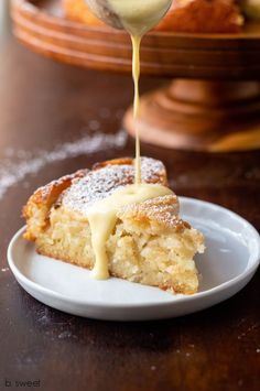 French Apple Cake with Maple Ginger Custard Sauce — b. sweet - Sweet Treats - French Apple Cake with Maple Ginger Custard Sauce - Apple Cake Recipes, Apple Desserts, Just Desserts, Delicious Desserts, Dessert Recipes, Apple Custard Cake Recipe, Apple Sauce Cake, Custard Desserts, Apple Cakes