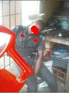 Photos of a sleeping policeman are trending on social media platforms for obvious reasons. The police officer was spotted sleeping hard ...