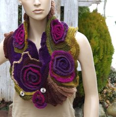Crochet Scarf - Capelet. Unique scarf made Freeform method. Warm and pleasant to the touch. Beautiful unique design. Color: purple, green,brown Size: One size fits all  materials used: 100% acrylic premium   irregural shape (101-109/24-18cm) 39,96-42,01/9,45-7,09  Care instruction: hand wash using warm water.  Because of different monitors and screen resolutions, colors may look different on the screen than really.