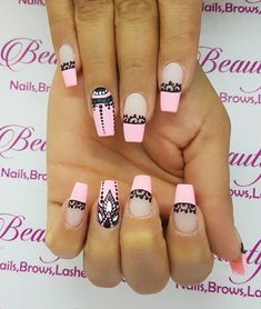The best health & beauty Trendy Nails, Cute Nails, Hair And Nails, My Nails, Pink Black Nails, Henna Nails, Mandala Nails, Nagel Hacks, Nagellack Trends