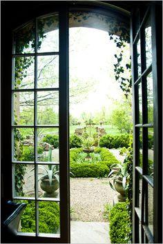 French Doors leading out to a Formal Garden. Dream Garden, Home And Garden, Abc Garden, Herb Garden, Portal, Outdoor Spaces, Outdoor Living, Landscape Design, Garden Design