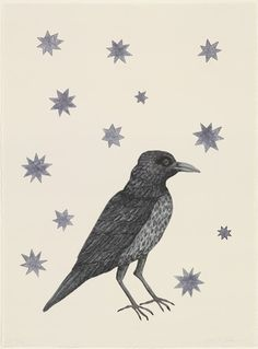 Happy birthday to Kiki Smith! Smith often represents birds because of their rich symbolism, particularly in religion. Bird with Stars. Kiki Smith, Art And Illustration, Museum Of Modern Art, Bird Art, American Artists, Oeuvre D'art, Painting & Drawing, Drawing Birds, Les Oeuvres