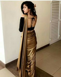 Copper saree with backless off shoulder blouse