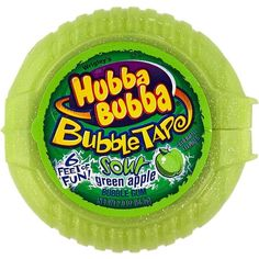 Give an apple to your teacher -- Hubba Bubba Sour Green Apple Tape Bubble Gum! 6 feet of sour apple bubble gum fun! Gum Brands, Gum Flavors, Sour Candy, Favorite Candy, Food Goals, Chewing Gum, Food Cravings, Bubble Gum, Sweet Tooth