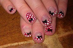 Minnie Mouse nails!!!!!  LOVE THESE!!