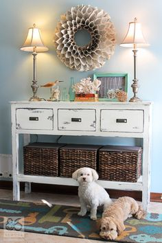Entryway table and decor.  86lemons.com