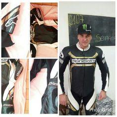 O antes e o depois dos ajustes e reformas em macacoes do motociclista Rivaldo