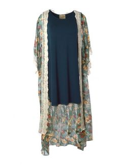 Floral Printed Chiffon Kimono with Crochet Detail (Jade) – DejaVu