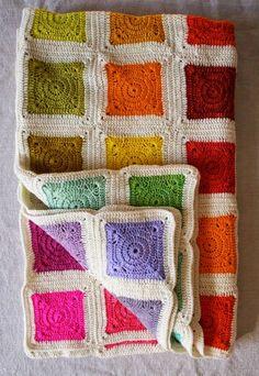MES FAVORIS TRICOT-CROCHET: Modèle plaid au crochet gratuit : Bear's Rainbow Blanket