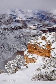 Snow, Grandview Point, Grand Canyon National Park, Arizona ~ #Arizona #United_States #Travel