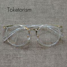 R  57.75  Toketorism Nova moda armações de óculos de ouro das mulheres dos  homens do vintage óculos de marca de grife oculos transparente 1569 em  Armações ... 60597cc56a