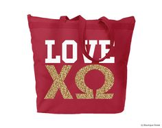 ChiO Chi Omega Love ΧΩ Red Large Zipped Top Tote White and Gold Glitter Imprint