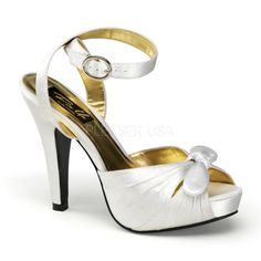 Bettie-04 White Satin Peep Toe Sandals with 4 1/2 inch Heel, Ankle Strap