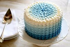 How to Make a Blue Ombre Petal Cake by thehungryhousewife: Great photo tutorial and video! #Cake #Ombre