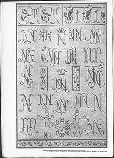 Cross stitch monograms, borders and ornaments, some in Art Nouveau style.   (visit site for bigger picture)  Gracieuse. Geïllustreerde Aglaja, 1911, aflevering 7, pagina 16