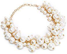 d21f159e42ed Jane Stone Statement White Beads Silver Chain Fashion Cluster ...