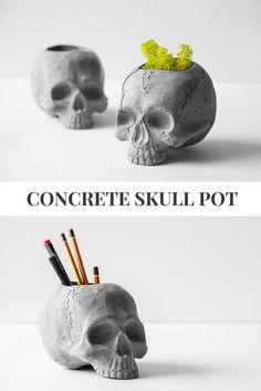 Concrete skull pot, unique and cool home decor object. Perfect planter or pencil holder for men. #concrete #skull #pot #ad #cement #homedecor #flowerpot #planter #pencilholder